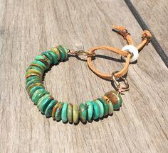 Boho Turquoise Bracelet Fine Turquoise by YellowMangoBracelets