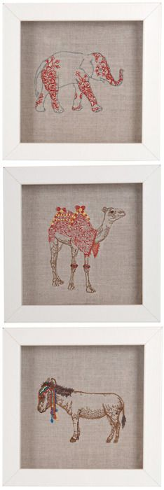 embroidery animal artwork from coral and tusk