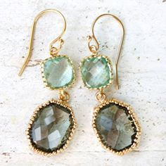 Storm Grey and Sea Glass Gold Earrings from #laylagrayce #customerfavorites