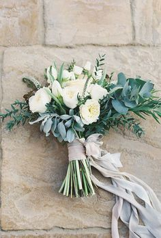 Wedding Color Trends 45 Neutral Spring Wedding Color I.- Wedding Color Trends 45 Neutral Spring Wedding Color Ideas Lots of greenery, messy and pretty trailing ribbons wedding bouquet - Bouquet Bride, Diy Wedding Bouquet, Bridal Bouquet White, Prom Bouquet, Diy Wedding Makeup, White Rose Bouquet, Spring Wedding Bouquets, Winter Bouquet, Spring Bouquet