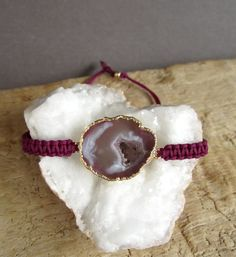 Agate Geode Macrame Friendship Bracelet Druzy by julianneblumlo, $68.00
