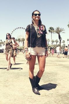 Coachella Festival Style: Between the lace, fringe, and cowboy boots, it's clear she knows her way around a festival look.