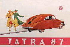 TATRA 87 1938 | René Vallente | Flickr Vintage Labels, Vintage Ads, Vintage Posters, Car Brochure, Car Posters, Car Advertising, Monte Carlo, Sport Cars, My Favorite Color