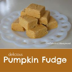 Amazing Pumpkin Fudge! Tastes like Pumpkin Pie, but without all the fuss. Make sure to use canned pumpkin. This is our favorite fall dessert!