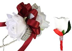 2pc set wrist  corsage and Boutonniere(BCset-38) rose  in Apple red and white