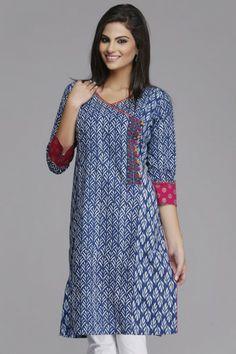 Stylish #Blue Straight Cotton #Kurta by #Farida Gupta on www.indiainmybag.com/farida-gupta
