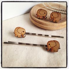 Gift set for her: Elephant earrings and elephant Bobby Pins - laser cut wood - eco friendly wood studs and hair pins
