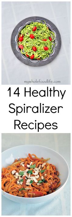 14 Easy and Healthy Spiralizer recipes.  You want to check these healthy recipes out.  Vegan and gluten free.