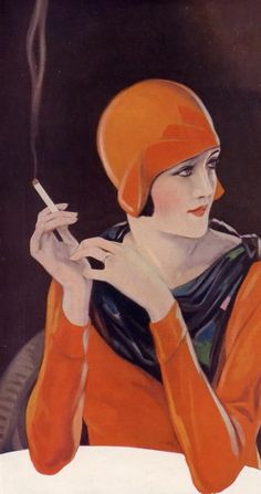 1920's Art Deco Fashion Lady in Cloche hat - http://hprints.com/Craven_A_Cigarettes_Tobacco_Smoking_1930-51206.html
