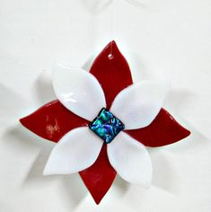 Fused Glass Ornament Dichroic Center Fused Glass Flower by Chris1, $23.00