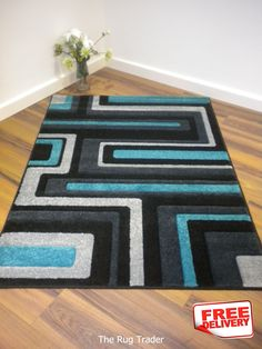 Black And Turquoise Area Rugs Viola 921q Grey Blue Rug 160cm X 230cm
