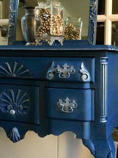 Napoleonic Blue with silver guilding wax.