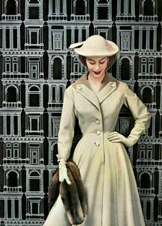Jacques Fath, 1953////// Fabulous Fath, looks like a coat-dress.  Lovely shape and form, subtle color and nice formidable buttons!