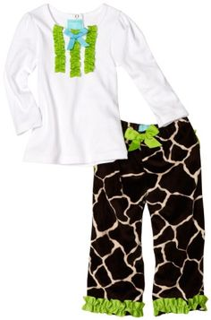 $35.99-$35.99 Baby Mud Pie Baby-girls Infant Giraffe 2 Piece Pant Set, Brown/White/Green, 2T-3T - Trendy giraffe print two piece set includes long sleeve cotton knit infant top with grosgrain ribbon ruffles, double layered minky ruffle and matching flare ruffle pants. Ruffles on butt. Too cute! Arrives on hanger with hang tag. (Headband shown on model not included - accessories sold separately)  ...