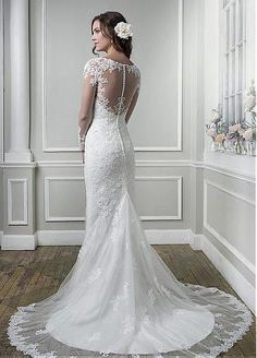Elegant Dot Tulle Bateau Neckline Sheath Wedding Dresses with Lace Appliques