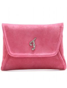"""The Pink Suede Fendi Clutch...Possible DIY idea,but with a Swarovski """"D"""" instead of an F,"""