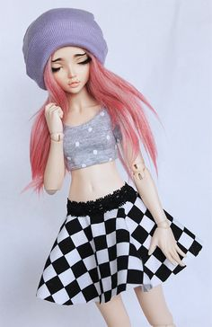 MSD BJD clothes Checkered print skater skirt by MonstroDesigns