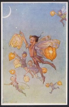 Margaret W. Tarrant (1888 – 1959, English) vintage postcard - Pixies with lanterns.