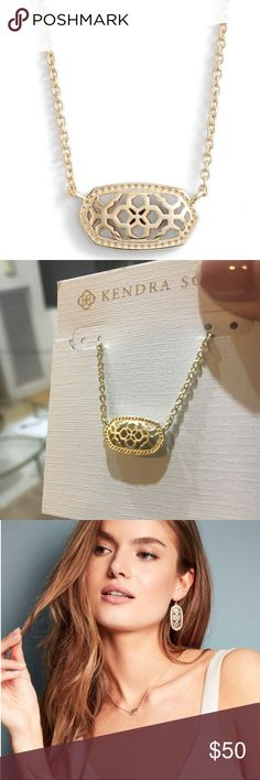 "Kendra Scott Elisa pendant necklace New Gold metal pendant - Versatile and delicate. 15"" length, 14k yellow-gold, lightweight. {Stylist tip: pair with a V neck blouse or dress to highlight collar bone} Kendra Scott Jewelry Necklaces"