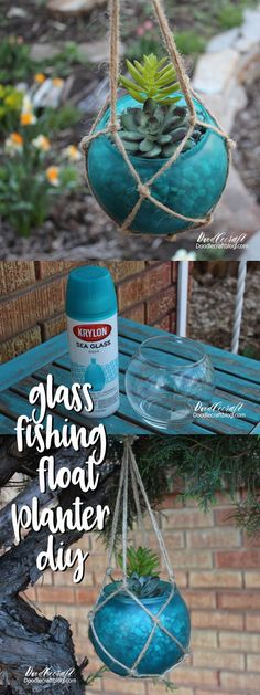 DIY: Sea Glass Fishing Float Succulent Planter