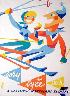 vintage ski poster. Czech. hory. lyze. snih. S Cestovni Kancelari Turista 1959