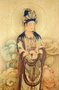 This stunning hand-detailed scroll is a depiction of Kwan Yin, the Bodhisattva of Compassion.