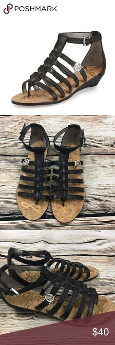 """Sam Edelman Donna gladiator black leather sandal Leather, gladiator sandal with ankle strap, 1"""" heel, brand new without box! *tags have been removed to prevent store returns Sam Edelman Shoes Sandals"""