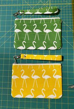 Flamingo Wristlet Handmade Clutch, Handmade Purses, Handmade Gifts, Love My Makeup, Large Makeup Bag, Fabric Cards, Premier Prints, Floral Bags, Flamingo Print
