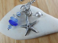 Sea Glass Jewelry - Starfish Cluster Necklace - MIRACLE CITY   via Etsy.