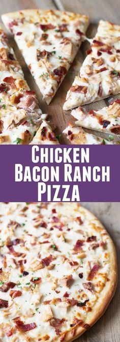 Chicken Bacon Ranch Pizza -a super easy pizza that will delight anyone who loves. - Chicken Bacon Ranch Pizza -a super easy pizza that will delight anyone who loves bacon and ranch! Chicken Bacon Ranch Pizza, Chicken Pizza Recipes, Healthy Pizza Recipes, Cooked Chicken, Ranch Chicken, Pizza With Chicken, Healthy Homemade Pizza, Bacon Recipes For Dinner, Flatbread Pizza Recipes