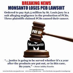 #SmartHealthTalkTopPick: #Monsanto Ordered to Pay $46.5 Million in #PCB Lawsuit in Rare Win for Plaintiffs