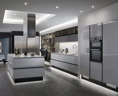 Linear Trend Grey is the new go-to neutral. This colour is very popular and a great choice for a kitchen as it is both versatile and fresh. This is our Balham Gloss Dove Grey kitchen. Find out more at Howdens. Luxury Kitchen Design, Kitchen Room Design, Home Decor Kitchen, Kitchen Interior, Kitchen Ideas, Kitchen Designs, Kitchen Layout, Grey Home Decor, Kitchen Decorations