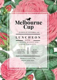 Melbourne Cup Luncheon Poster Template - The biggest range of customisable Melbourne Cup posters and flyers that take the hassle out of organising your promotions. Choose a template and drag, drop and be done! #MelbourneCup #Events #SpringRacing #Racing