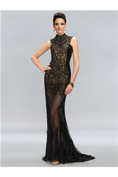 Vintage High Neck Lace Appliques High-Neck Mermaid Evening Dress