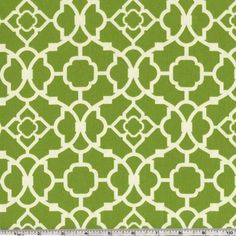 Waverly Lovely Lattice Sateen Jungle from @fabricdotcom  Screen printed on cotton sateen this fabric is perfect for window treatments (swags valances, curtains, draperies), bed skirts, duvet covers, pillows and more! Colors include olivey green and cream.