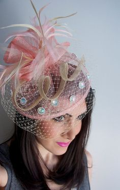 72f4452116785 Pink Fascinator Pink   Ivory Fascinator Hat by EyeHeartMe on Etsy Ivory  Fascinator