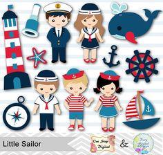Little Sailor Digital Clip Art, Nautical Party Clipart, 00219 – Tracy Digital Design Sailor Theme, Sailor Cake, Sailor Birthday, Girls Clips, Nautical Party, Vintage Flowers, Felt Crafts, Clipart, Party Themes