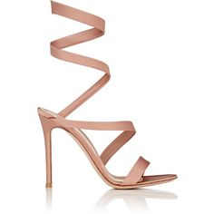 Gianvito Rossi Women's Opera Satin Sandals ($1,245) ❤ liked on Polyvore featuring shoes, sandals, heels, pink, pink heeled sandals, high heel shoes, pink stilettos, slip on shoes and pink high heel sandals