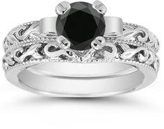 Bijoux – Tendance : Black Diamond 1 Carat Art Deco Bridal Set in Sterling Silver… Bridal Ring Sets, Bridal Rings, Bridal Jewelry, Wedding Rings, Wedding Engagement, Wedding Stuff, Wedding Sets, Blue Wedding, Pink Topaz