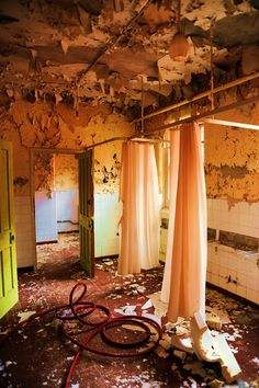 "asylum bathroom - scary to think about the cold baths that patients were forced to indure for the sake of ""treatment"" or ""control""."