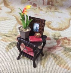Table Stand Dressed with Plant Books Picture Frame 1:12 Dollhouse Miniature