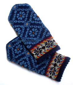 Wool mittens Hand knitted patterned mittens Warm mittens Winter gloves Blue floral ornament on a dark blue background Blue black yellow Gift