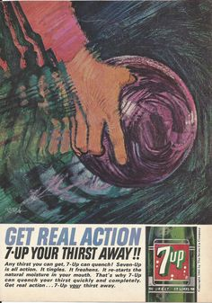 7-UP Game of Bowling Original 1964 Vintage Print Ad Color Illustration by Bob Peak Purple Bowling Ball Soda Pop Soft Drink