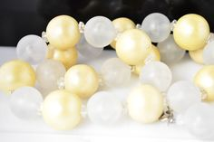 YELLOW AND WHITE PLASTIC BEADED NECKLACE  | eBay