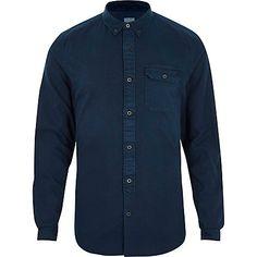 Dark blue washed slim fit button-down shirt £28.00