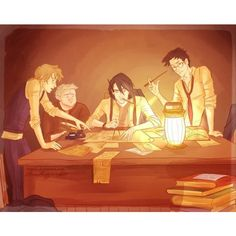 Illustrated scenes from Harry Potter The Marauders' Generation ❤ liked on Polyvore featuring harry potter