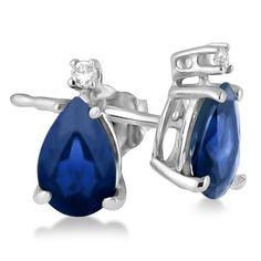 14k Gold 3/4ct Diamond & Pear Sapphire Teardrop Earrings Studs (14k