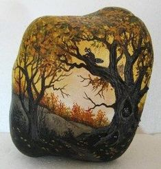 Hand painted rock art paintings Fall scene tree with raccoons Martha