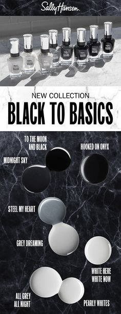 NEW Black to Basics Collection | Complete Salon Manicure Hair And Makeup Tips, Hair And Nails, Hair Makeup, Beauty Nails, Hair Beauty, Beauty Stuff, Black Toe Nails, Strong Nails, Sally Hansen