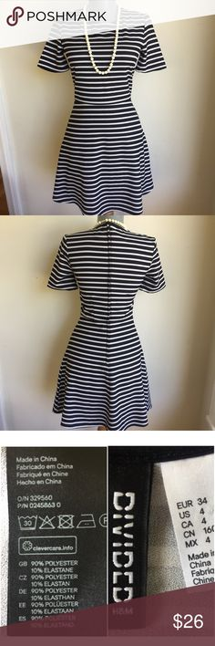"""H&M Black and Gray Stripe Dress. Chic. H&M Black and Gray Stripe Dress. Chic.  Between under arms 15"""".  Waist 25"""".  Waist to hem 17"""".  Very good condition. Like new.  Sophisticated. H&M Dresses"""